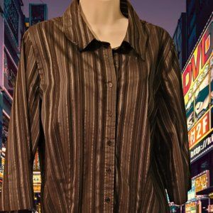 APT 9 BUTTON UP CHOCOLATE BROWN STRIPED BLOUSE
